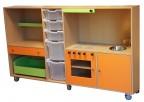 2KICK Daffy Keuken Poppenkast Met Bakken 206 cm Berken Groen Oranje 1