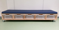 2KICK Kleuterbankje 172x45x31 cm 5 Transparante Bakken Donkerblauw