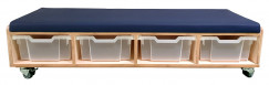 2KICK Kleuterbankje 138x45x31 cm 4 Transparante Bakken Donkerblauw